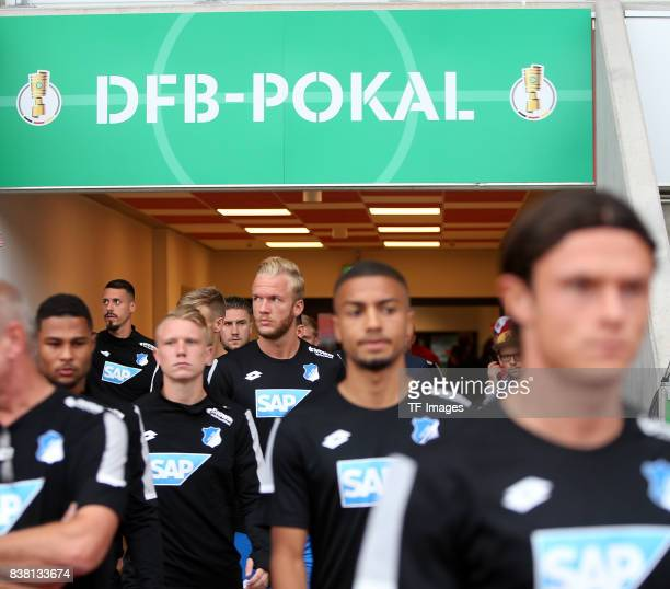 Serge Gnabry of Hoffenheim and Kevin Vogt of Hoffenheim and Philipp Ochs of Hoffenheim and Jeremy Toljan of Hoffenheim and Nico Schulz of Hoffenheim...