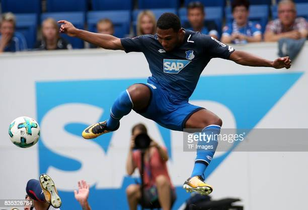 Serge Gnabry of Hoffenheim battle for the ball during the preseason friendly match between TSG 1899 Hoffenheim and FC Bologna on August 5 2017 in...