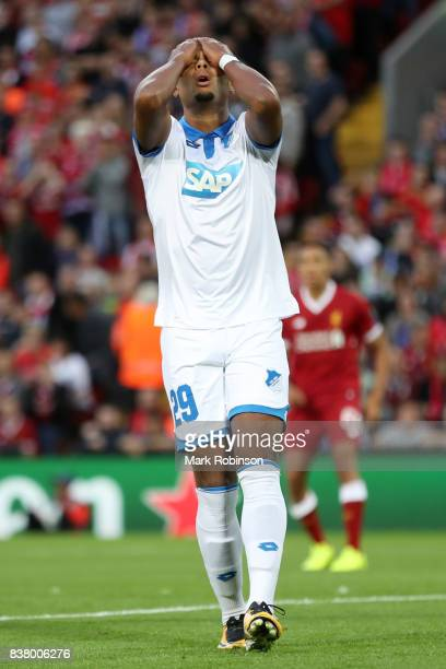 Serge Gnabry of Hoffenheim reacts during the UEFA Champions League Qualifying PlayOffs round second leg match between Liverpool FC and 1899...