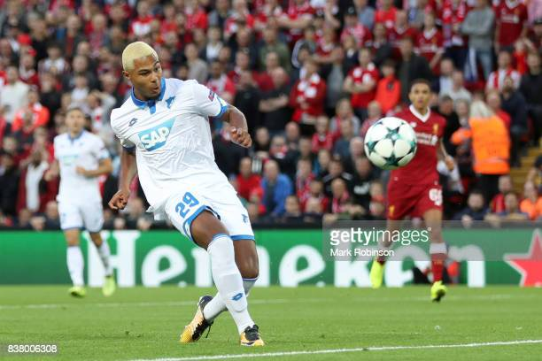 Serge Gnabry of Hoffenheim shoots during the UEFA Champions League Qualifying PlayOffs round second leg match between Liverpool FC and 1899...