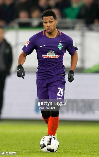 Serge Gnabry of SV Werder Bremen runs with the ball during the Bundesliga match between VfL Wolfsburg and Werder Bremen at Volkswagen Arena on...