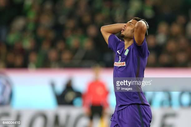 Serge Gnabry of Werder Bremen gestures during the Bundesliga match between VfL Wolfsburg and Werder Bremen at Volkswagen Arena on February 24 2017 in...