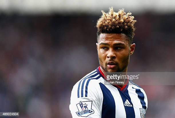 Serge Gnabry of West Brom looks on during the Barclays Premier League match between West Bromwich Albion and Chelsea at the Hawthorns on August 23...
