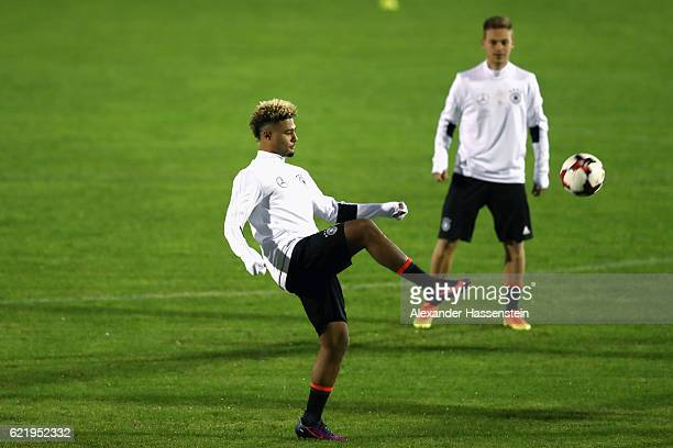 Serge Gnabry plays with the ball during a training session of the German national team at Stadio di Santamonica di Misano Adriatico on November 9...