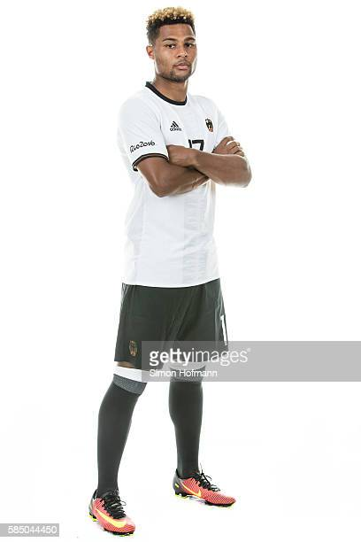 Serge Gnabry poses during the German Olympic Football Team Photocall on July 30 2016 in NeuIsenburg Germany