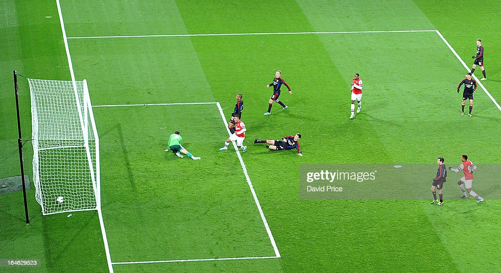 Serge Gnabry scores Arsenal's goal past Sergey Revyakin of CSKA during the NextGen Series Quarter Final match between Arsenal and PFC CSKA at Emirates Stadium on March 25, 2013 in London, England.