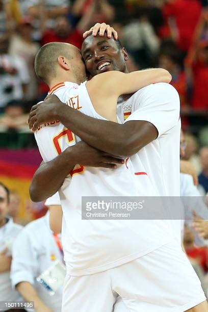 Serge Ibaka and Sergio Rodriguez of Spain celebrate after they won 6759 against Russia during the Men's Basketball semifinal match on Day 14 of the...