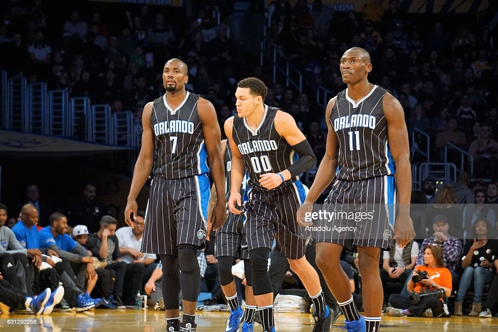 Serge Ibaka (7), Aaron Gordon (00) ve Bismack Biyombo (11) of Orlando Magic are seen during a NBA game between Los Angeles Lakers and Orlando Magic at Staples Center in Los Angeles, USA on January 08, 2017.