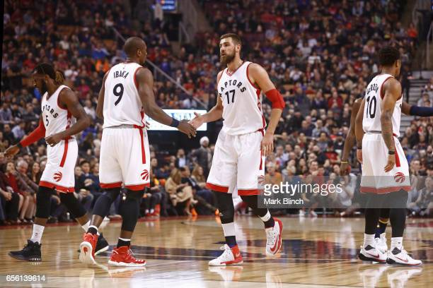 Serge Ibaka and Jonas Valanciunas of the Toronto Raptors shake hands against the Indiana Pacers on March 19 2017 at Air Canada Centre in Toronto...