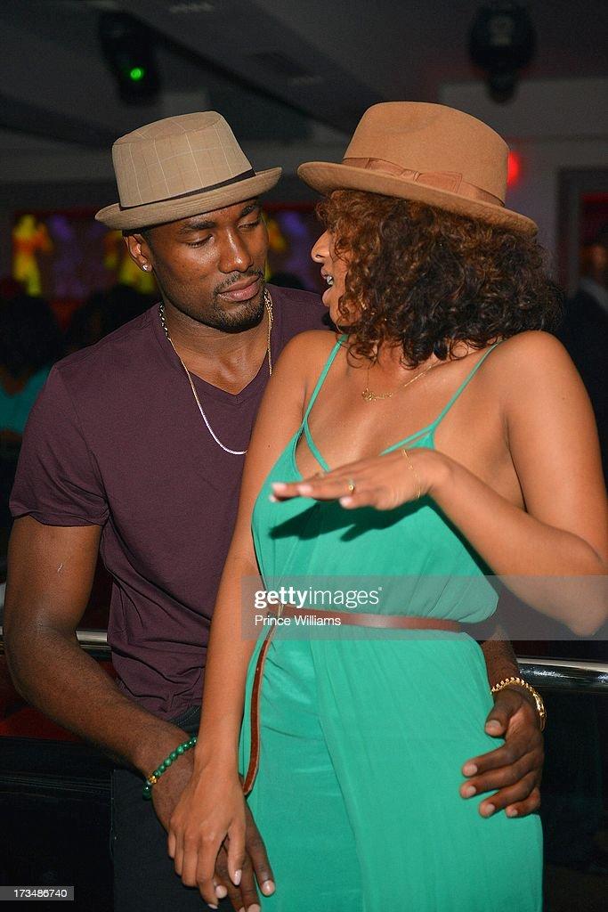 Serge Ibaka and Keri Hilson attend compound Nightclub on July 13, 2013 in Atlanta, Georgia.