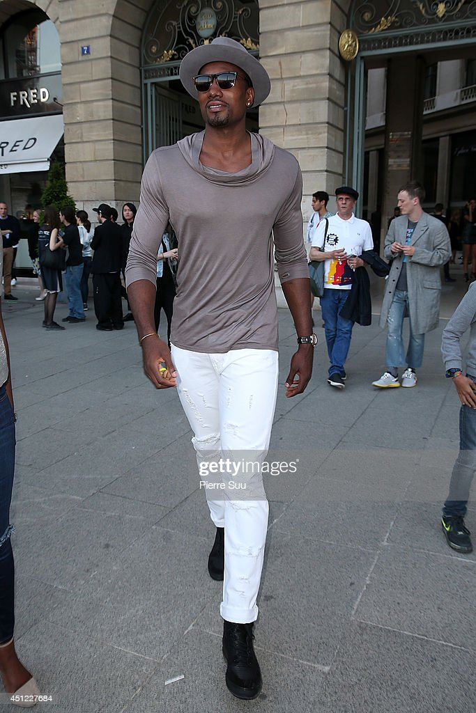 <a gi-track='captionPersonalityLinkClicked' href=/galleries/search?phrase=Serge+Ibaka&family=editorial&specificpeople=5133378 ng-click='$event.stopPropagation()'>Serge Ibaka</a> attends the Raf Simons show as part of the Paris Fashion Week Menswear Spring/Summer 2015 on June 25, 2014 in Paris, France.