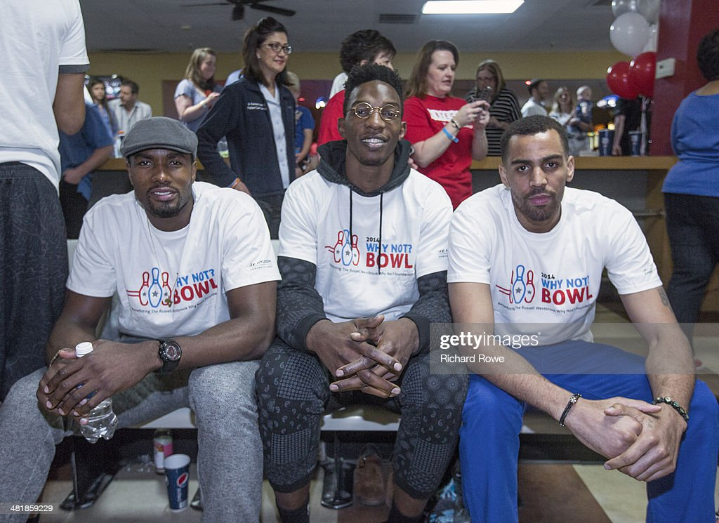 Serge Ibaka #9, Hasheem Thabeet #34, and Thabo Sefolosha #2 join Russell Westbrook #0 of the Oklahoma City Thunder at his annual Why Not Foundation fundraiser to benefit the Boys and Girls Club at AMC Boulevard Bowl in Edmond, Oklahoma.