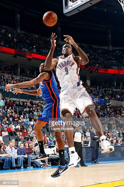 Serge Ibaka of the Oklahoma City Thunder and Jonathan Bender of the New York Knicks fight for a rebound on January 11 2010 at the Ford Center in...