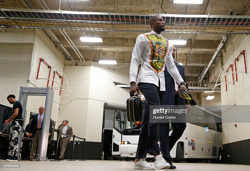 Serge Ibaka #9 of the Oklahoma City Thunder and the rest of the team before their game against the San Antonio Spurs during game Two of the Western Conference Semifinals for the 2016 NBA Playoffs at AT&T Center on May 2, 2016 in San Antonio, Texas.