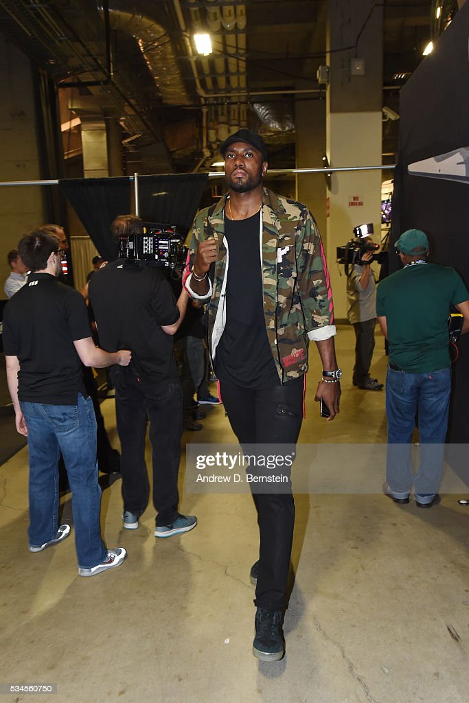 Serge Ibaka #9 of the Oklahoma City Thunder arrives before the game against the Golden State Warriors in Game Five of the Western Conference Finals during the 2016 NBA Playoffs on May 26, 2016 at ORACLE Arena in Oakland, California.