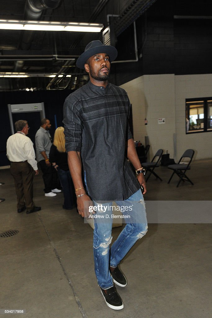 <a gi-track='captionPersonalityLinkClicked' href=/galleries/search?phrase=Serge+Ibaka&family=editorial&specificpeople=5133378 ng-click='$event.stopPropagation()'>Serge Ibaka</a> #9 of the Oklahoma City Thunder before facing the Golden State Warriors for Game Four of the Western Conference Finals during the 2016 NBA Playoffs on May 24, 2016 at Chesapeake Energy Arena in Oklahoma City, Oklahoma.