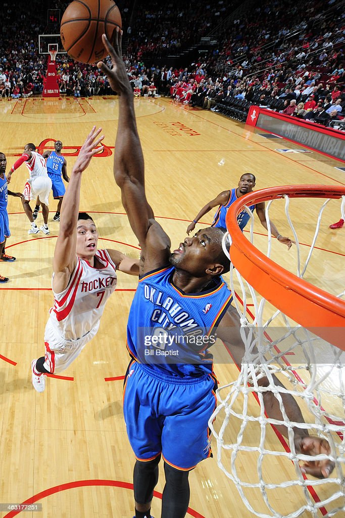 <a gi-track='captionPersonalityLinkClicked' href=/galleries/search?phrase=Serge+Ibaka&family=editorial&specificpeople=5133378 ng-click='$event.stopPropagation()'>Serge Ibaka</a> #9 of the Oklahoma City Thunder blocks a shot against <a gi-track='captionPersonalityLinkClicked' href=/galleries/search?phrase=Jeremy+Lin&family=editorial&specificpeople=6669516 ng-click='$event.stopPropagation()'>Jeremy Lin</a> #7 of the Houston Rockets on January 16, 2014 at the Toyota Center in Houston, Texas.