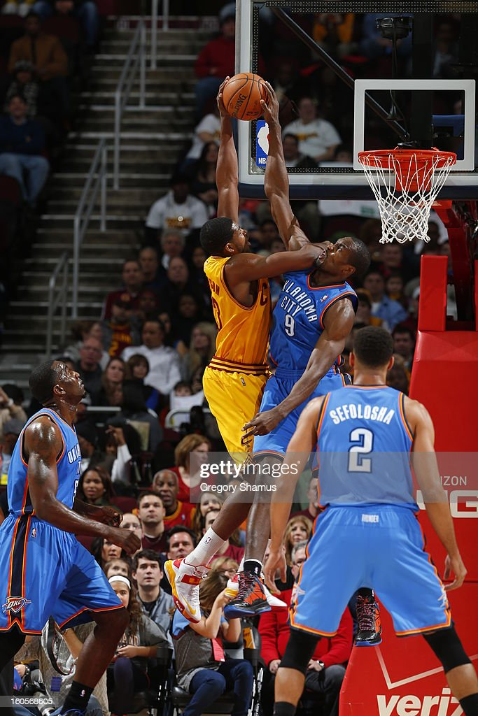Serge Ibaka #9 of the Oklahoma City Thunder blocks a shot against Tristan Thompson #13 of the Cleveland Cavaliers at The Quicken Loans Arena on February 2, 2013 in Cleveland, Ohio.