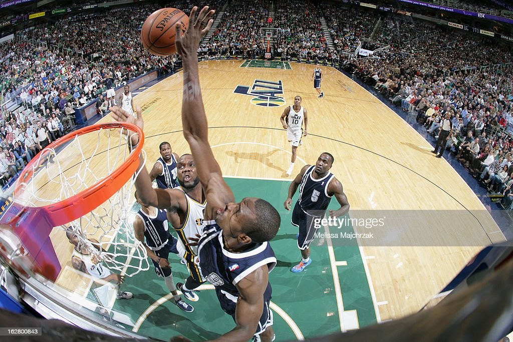 Serge Ibaka #9 of the Oklahoma City Thunder blocks a shot against the Utah Jazz on February 12, 2013 in Salt Lake City, Utah.