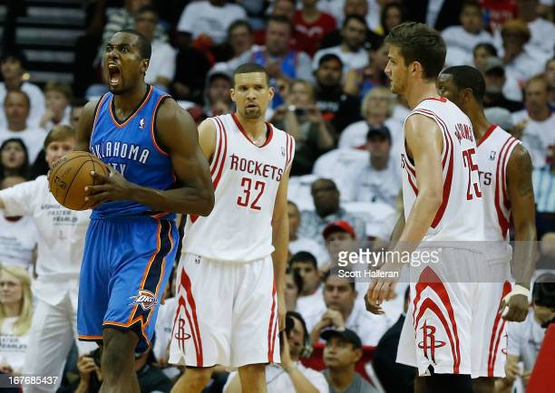 Serge Ibaka of the Oklahoma City Thunder celebrates a play against the Houston Rockets in Game Three of the Western Conference Quarterfinals of the...