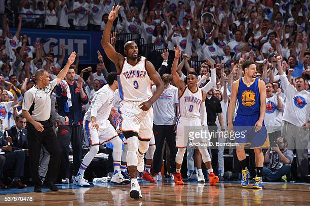 Serge Ibaka of the Oklahoma City Thunder celebrates a shot in Game Four of the Western Conference Finals against the Golden State Warriors during the...