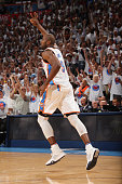 Serge Ibaka of the Oklahoma City Thunder celebrates a three point basket against the Golden State Warriors in Game Four of the Western Conference...