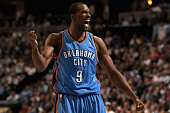 Serge Ibaka of the Oklahoma City Thunder celebrates after being fouled against the Denver Nuggets in Game Three of the Western Conference...
