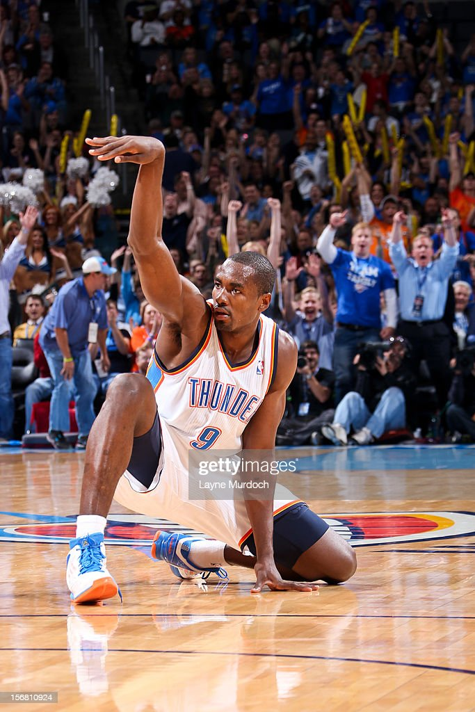 Serge Ibaka #9 of the Oklahoma City Thunder celebrates after making a three-pointer at the half buzzer against the Los Angeles Clippers on November 21, 2012 at the Chesapeake Energy Arena in Oklahoma City, Oklahoma.