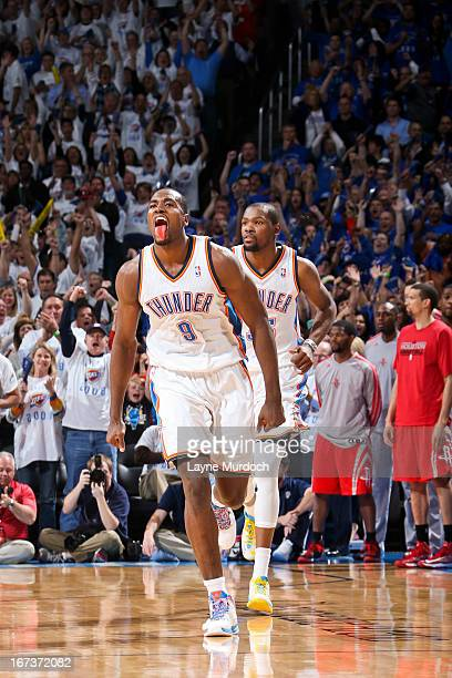 Serge Ibaka of the Oklahoma City Thunder celebrates after making a shot late in the fourth quarter against the Houston Rockets in Game Two of the...