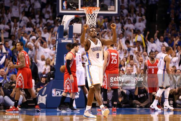 Serge Ibaka of the Oklahoma City Thunder celebrates after Russell Westbrook scored against the Houston Rockets during the third quarter of Game Two...
