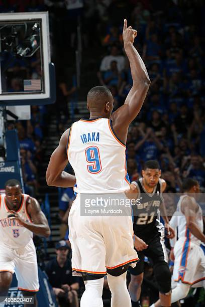 Serge Ibaka of the Oklahoma City Thunder celebrates during a game against the San Antonio Spurs in Game Three of the Western Conference Finals during...