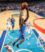 Serge Ibaka of the Oklahoma City Thunder dunks against the Dallas Mavericks in Game Four of the Western Conference Quarterfinals during the 2012 NBA...