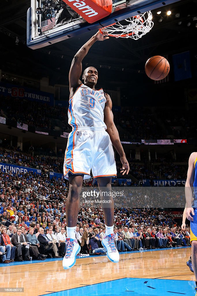 Serge Ibaka #9 of the Oklahoma City Thunder dunks against the Golden State Warriors on February 6, 2013 at the Chesapeake Energy Arena in Oklahoma City, Oklahoma.