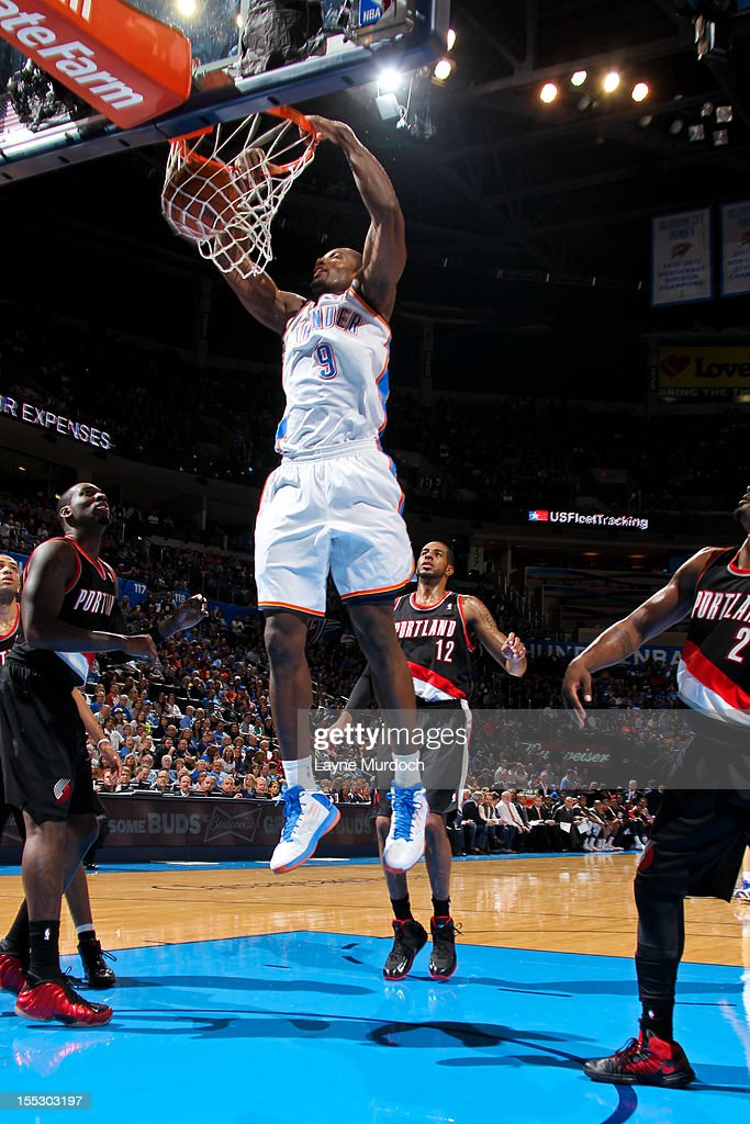 <a gi-track='captionPersonalityLinkClicked' href=/galleries/search?phrase=Serge+Ibaka&family=editorial&specificpeople=5133378 ng-click='$event.stopPropagation()'>Serge Ibaka</a> #9 of the Oklahoma City Thunder dunks against the Portland Trail Blazers on November 2, 2012 at the Chesapeake Energy Arena in Oklahoma City, Oklahoma.