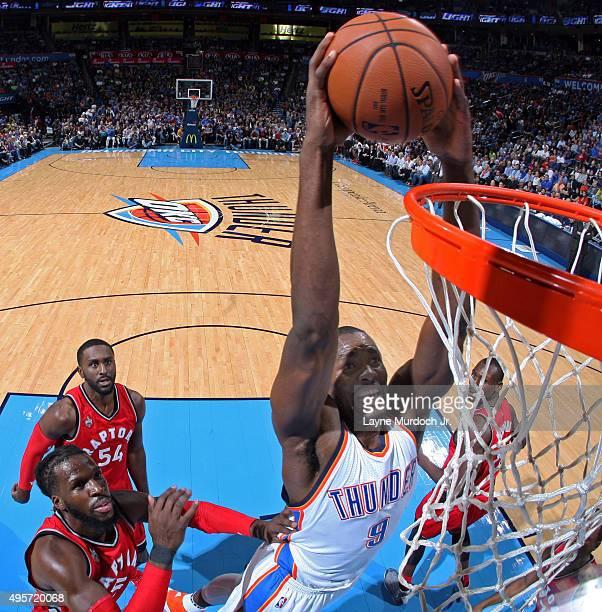 Serge Ibaka of the Oklahoma City Thunder dunks against the Toronto Raptors during the game on November 4 2015 at Chesapeake Energy Arena in Oklahoma...