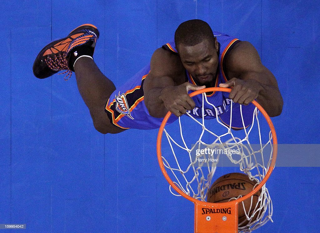 Serge Ibaka #9 of the Oklahoma City Thunder dunks during a 109-97 win over the Los Angeles Clippers at Staples Center on January 22, 2013 in Los Angeles, California.
