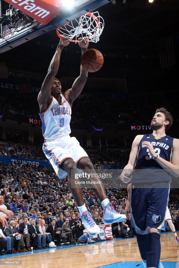Serge Ibaka #9 of the Oklahoma City Thunder dunks the ball against the Memphis Grizzlies during an NBA game on January 31, 2013 at the Chesapeake Energy Arena in Oklahoma City, Oklahoma.