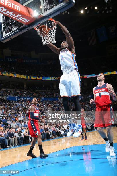 Serge Ibaka of the Oklahoma City Thunder dunks the ball against the the Washington Wizards during an NBA game on November 10 2013 at the Chesapeake...
