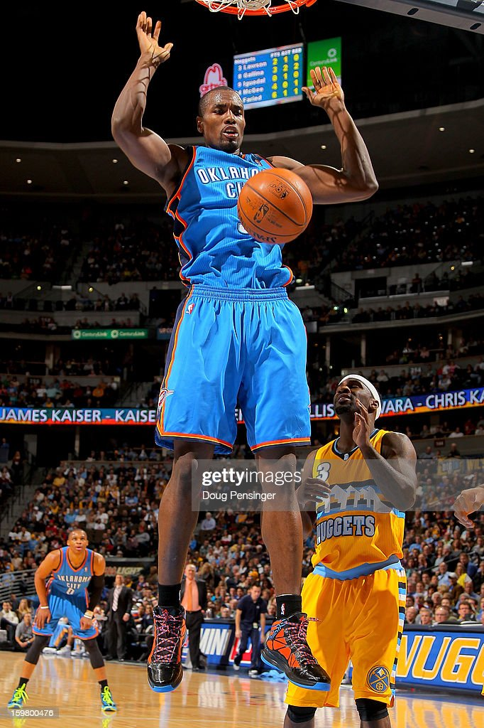 Serge Ibaka #9 of the Oklahoma City Thunder dunks the ball against Ty Lawson #3 of the Denver Nuggets at the Pepsi Center on January 20, 2013 in Denver, Colorado.
