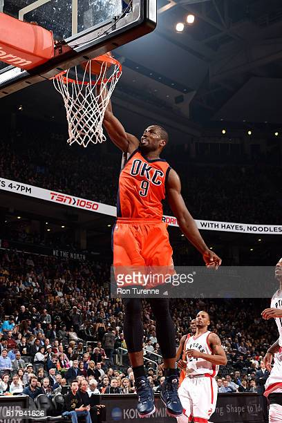 Serge Ibaka of the Oklahoma City Thunder dunks the ball during the game against the Toronto Raptors on March 28 2016 at the Air Canada Centre in...