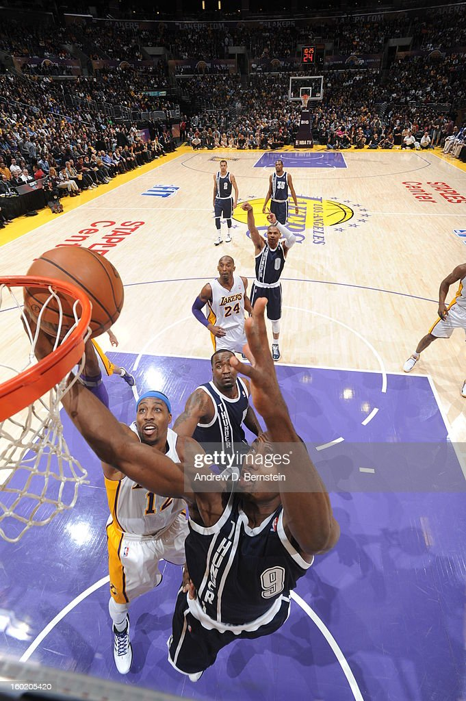 Serge Ibaka #9 of the Oklahoma City Thunder goes to the basket during the game between the Los Angeles Lakers and the Oklahoma City Thunder at Staples Center on January 27, 2013 in Los Angeles, California.