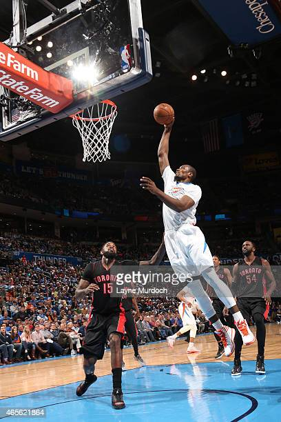 Serge Ibaka of the Oklahoma City Thunder goes up for a dunk against the Toronto Raptors on March 8 2015 at the Chesapeake Energy Arena in Oklahoma...