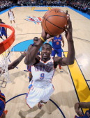Serge Ibaka of the Oklahoma City Thunder goes up for a shot against the New York Knicks on January 22 2011 at the Ford Center in Oklahoma City...