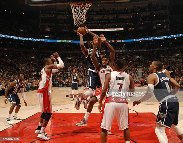 Serge Ibaka of the Oklahoma City Thunder goes up for a shot against the Toronto Raptors on March 21 2014 at the Air Canada Centre in Toronto Ontario...