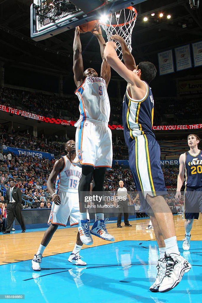 <a gi-track='captionPersonalityLinkClicked' href=/galleries/search?phrase=Serge+Ibaka&family=editorial&specificpeople=5133378 ng-click='$event.stopPropagation()'>Serge Ibaka</a> #9 of the Oklahoma City Thunder goes up for the dunk against the Utah Jazz during an NBA preseason game on October 20, 2013 at the Chesapeake Energy Arena in Oklahoma City, Oklahoma.