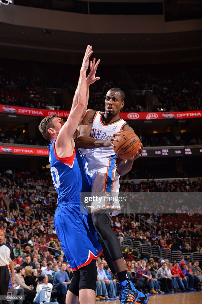 <a gi-track='captionPersonalityLinkClicked' href=/galleries/search?phrase=Serge+Ibaka&family=editorial&specificpeople=5133378 ng-click='$event.stopPropagation()'>Serge Ibaka</a> #9 of the Oklahoma City Thunder goes up for the shot against the Philadelphia 76ers at the Wells Fargo Center on January 25, 2014 in Philadelphia, Pennsylvania.