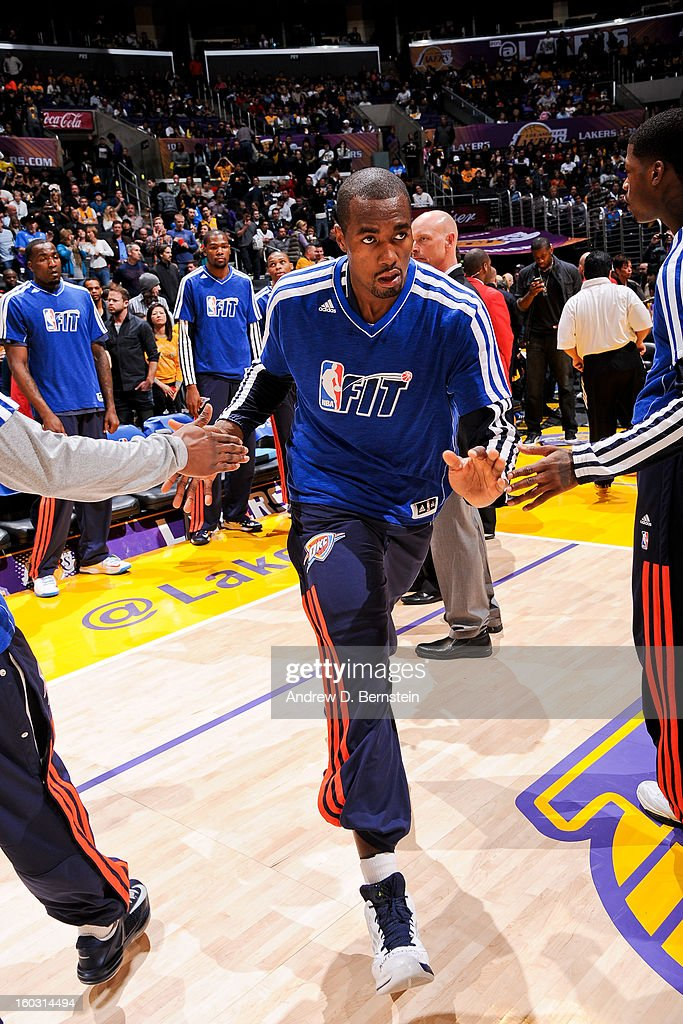 Serge Ibaka #9 of the Oklahoma City Thunder greets teammates before playing against the Los Angeles Lakers at Staples Center on January 27, 2013 in Los Angeles, California.