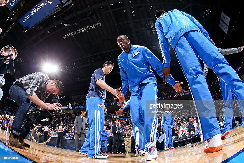 Serge Ibaka #9 of the Oklahoma City Thunder greets teammates before playing against the Golden State Warriors on February 6, 2013 at the Chesapeake Energy Arena in Oklahoma City, Oklahoma.