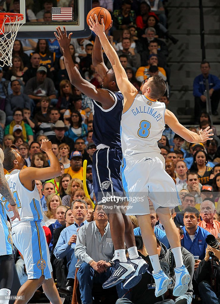 Serge Ibaka #9 of the Oklahoma City Thunder has his shot blocked by Danilo Gallinari #8 of the Denver Nuggets at the Pepsi Center on March 1, 2013 in Denver, Colorado. The Nuggets defeated the Thunder 105-103.