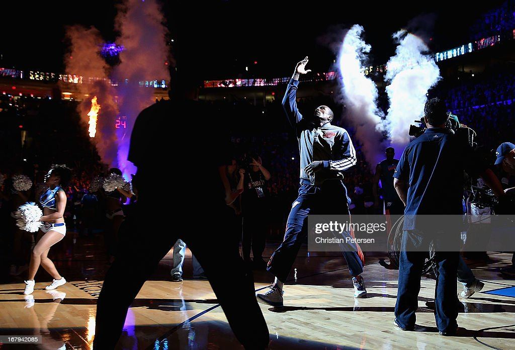 <a gi-track='captionPersonalityLinkClicked' href=/galleries/search?phrase=Serge+Ibaka&family=editorial&specificpeople=5133378 ng-click='$event.stopPropagation()'>Serge Ibaka</a> #9 of the Oklahoma City Thunder is introduced before Game Five of the Western Conference Quarterfinals of the 2013 NBA Playoffs against the Houston Rockets at Chesapeake Energy Arena on May 1, 2013 in Oklahoma City, Oklahoma. The Rockets defeated the Thunder 107-100.